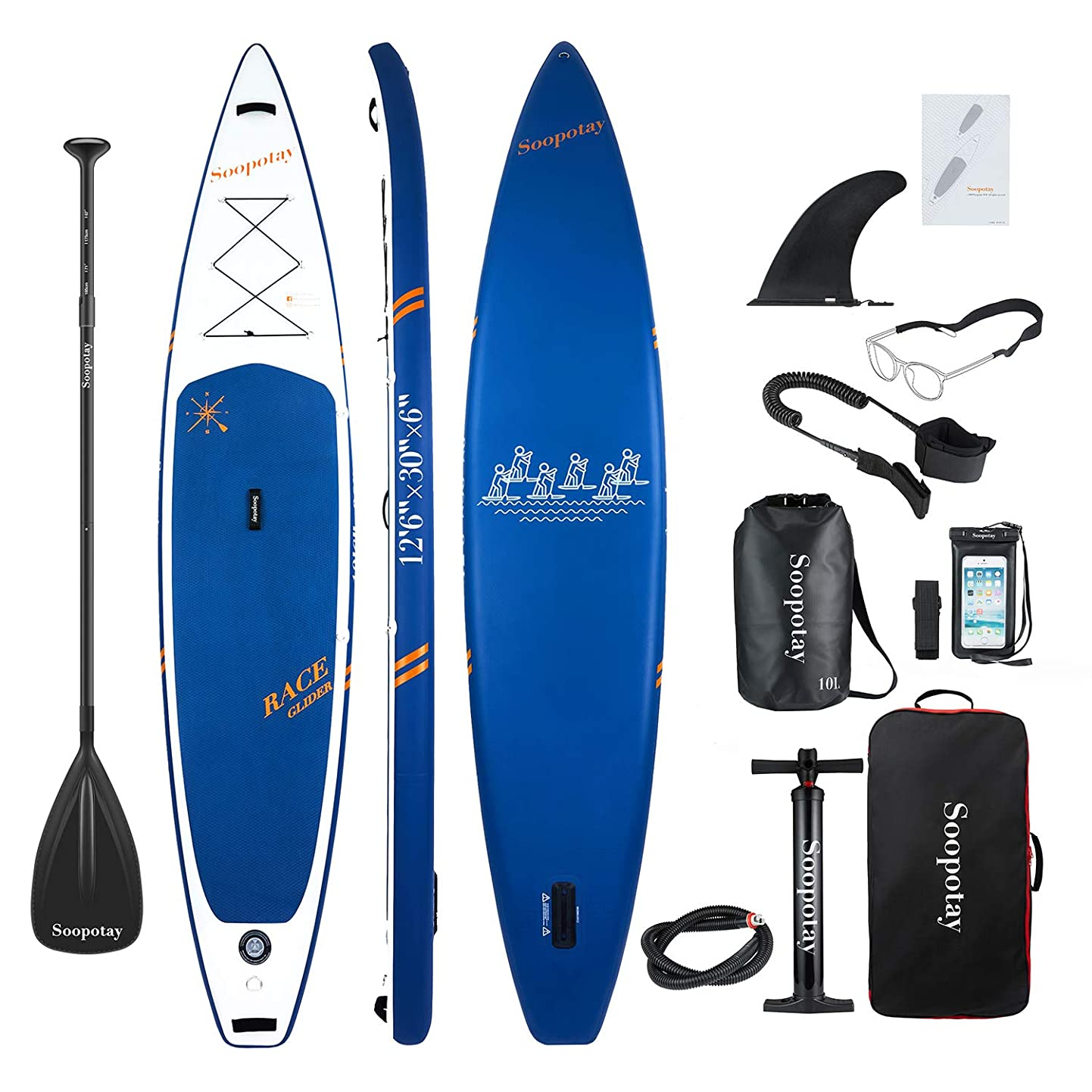 12'6'' Inflatable SUP Stand Up Paddle Board, Inflatable SUP Board 12'6'' x 30'' x 6'',iSUP Board Package with All Acessories efwivuhuezz1