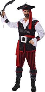 Pirate Costume Men's Plundering Sea Captain Adult Set for Halloween Dress Up Party