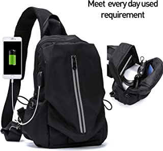 Large Black Sling Shoulder Backpack Cross Body Bag for Men Women Waterproof Sling Chest Bag for Hiking Cycling Walking Travel Work Gym Camping USB Charger Port - Nylon