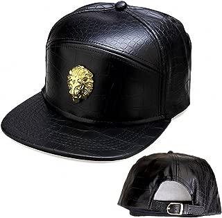 Metal Badges NUKIC Unisex Leather Lion Head Baseball Cap Adjustable Flat Bill Snapback Hat