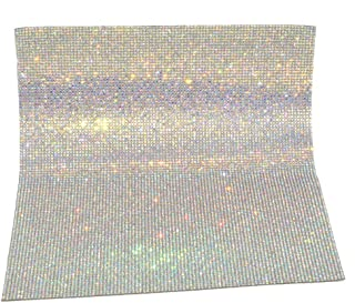 Queenme Hotfix Rhinestones Sheet Hot Transfer Melt Press Crystals Mesh Iron on Embellishments for Clothing Shoes T Shirts Crafts with 10830pcs Sparkling Gems in Crystal AB Color