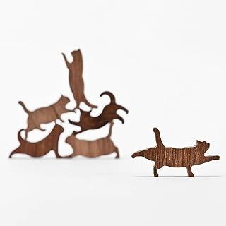 COMMA Wooden Cat Pile Set 4 (Orange Thread, 6 Kittens)