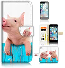 (For iPhone 8 Plus/iPhone 7 Plus) Wallet Case Cover & Screen Protector Bundle! A8645 Cute Baby Pig