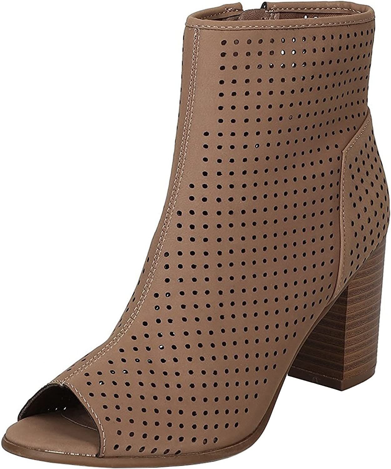 Breckelles Women's Perforated Stacked Chunky Heel Peep Toe Bootie
