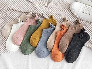 Leikance, Calcetines de tobillo para mujer, calcetines de expresión bordados Kawaii, calcetines divertidos de algodón para el verano