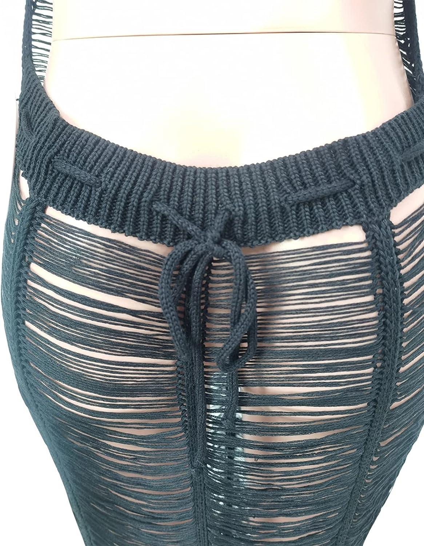 Women Sexy Halter Sleeveless Mesh See Through Crochet Maxi Long Dress Backless Knitted Beach Bikini Swimsuit Cover Ups