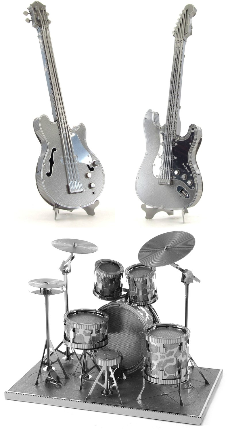 Cheap Metal Earth 3D Laser Cut Steel Models - Drum Set Base Guitar AND Lead Electric Guitar = SET OF 3 Black Friday & Cyber Monday 2019