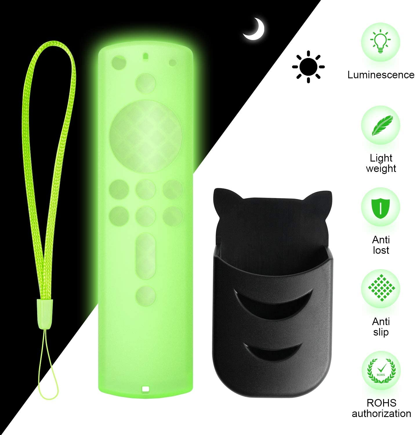 Set Green Glow Remote Cover and Remote Holder, Silicone Remote Cover for 4K Firestick TV Stick, Fire TV Stick (2nd Gen), Fire tv (3rd Gen) Remote Case Light weight Anti Slip and Wrist straps