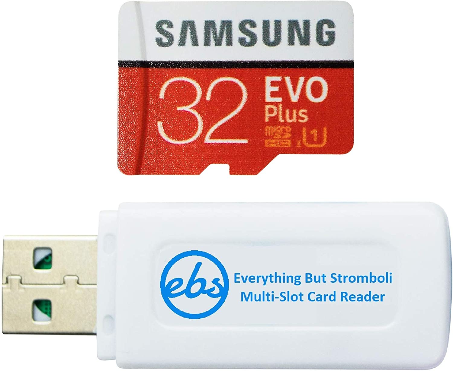 Samsung Evo Plus 32GB Micro SDHC Memory Card Class 10 for Smartphones Works with LG G8X ThinQ, LG Stylo 6, LG K31 Phone (MB-MC32) Bundle with (1) Everything But Stromboli MicroSD & SD Card Reader