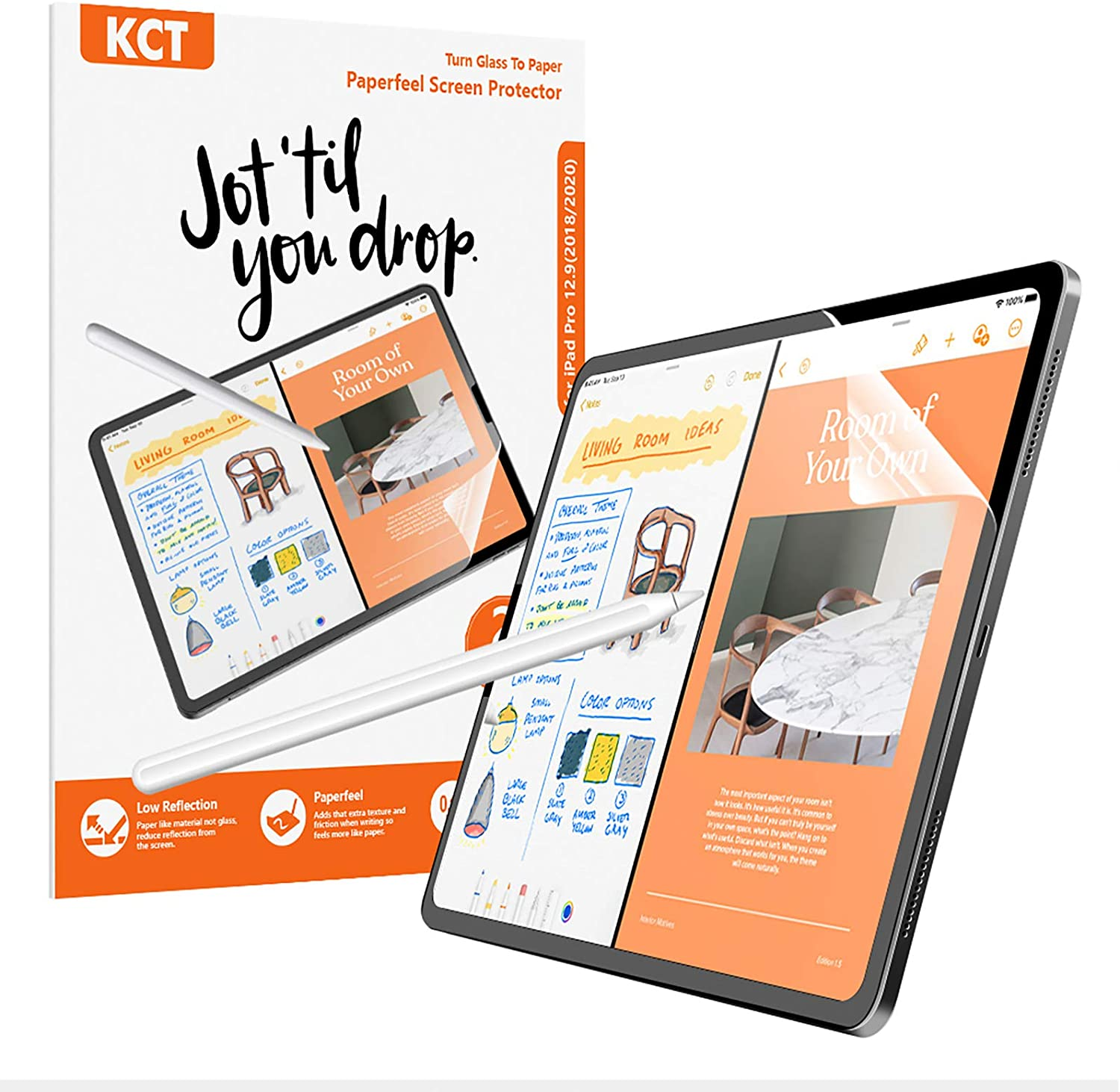 [2 PACK]Paperfeel Screen Protector Compatible with iPad Pro 12.9 (2021&2020&2018 Models),iPad pro 12.9 Matte PET Film for Drawing No Glare and Paperfeel iPad Pro 12.9 Screen Protector 2018 and 2020