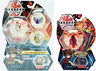 Bakugan Ultra Diamond Dragonoid Plus Pyrus Hyper Dragonoid Bundle, 3-inch Tall Collectible Transforming Creature, for Ages 6 and Up