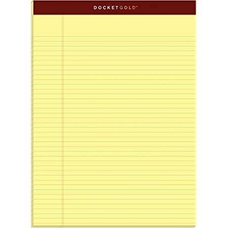 """TOPS Docket Gold Writing Pads, 8-1/2"""" x 11-3/4"""", Narrow Rule, Canary Paper, 50 Sheets, 6 Pack (63941)"""