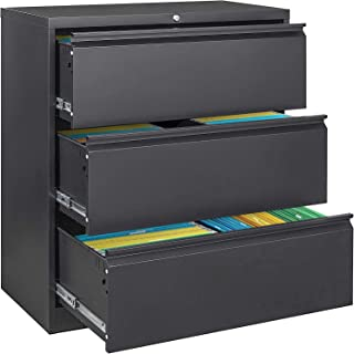 Sponsored Ad - Black 3 Drawer Lateral File Cabinet with Lock, Metal Lateral Filing Cabinet for Legal Letter A4 Size, Locki...