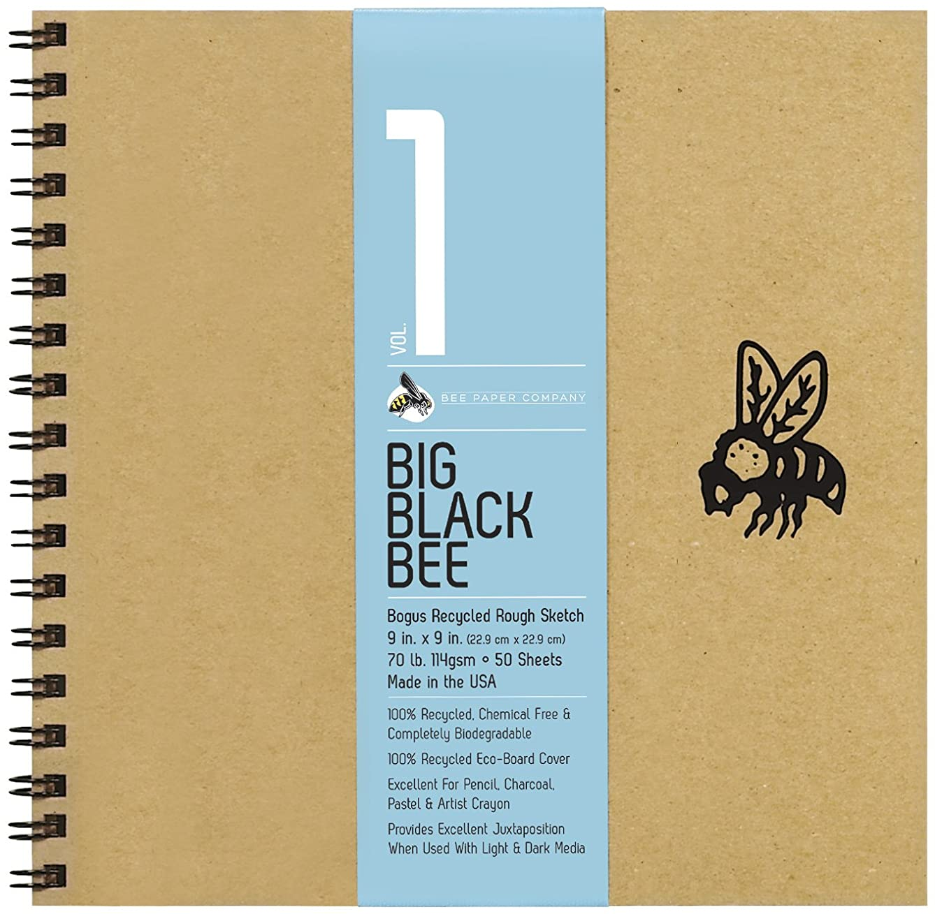 Bee Paper Company BEE-202CB50-909 Big Black Bee Bogus Pad, 9 by 9-Inch