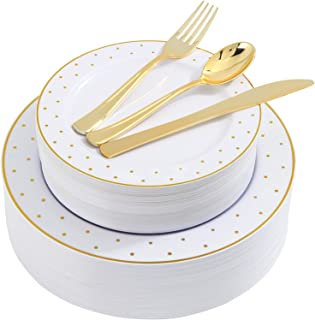 200pcs Gold Plastic Dinnerware, White Disposable Plates with Gold Printing, Gold Plastic Silverware Include 40 Dinner Plates, 40 Salald Plates, 40 Knives, 40 Forks, 40 Spoons, Supernal