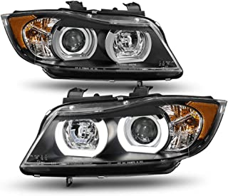 ACANII - For Black [HID/Xenon-AFS] 2006 2007 2008 BMW E90 Sedan LED Tube Projector Headlights Headlamps Driver+Passenger