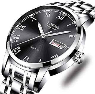 LIGE Mens Watches Stainless Steel Waterproof Analog Quartz Watch Men Business Dress Wristwatch (Steel Silver Black)