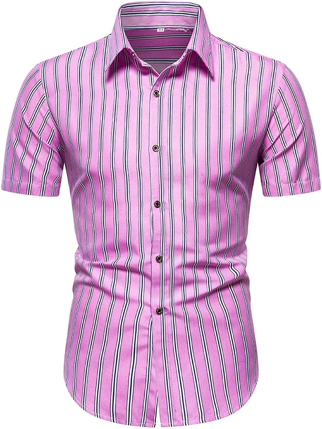 viwoMUMO Men's Summer Shirts Casual Colorful Striped Print,Short Sleeve Loose Button Down Tee Tops Blouse V219