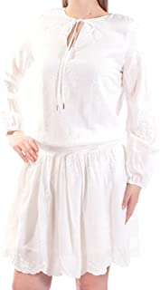 Tommy Hilfiger Women's Embroidered Peasant Casual Dress Ivory 8