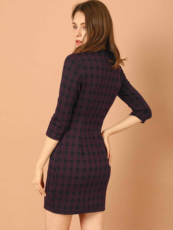 Allegra K Women's Mock Neck 3/4 Sleeve Slim Check Office Work Plaid Dress