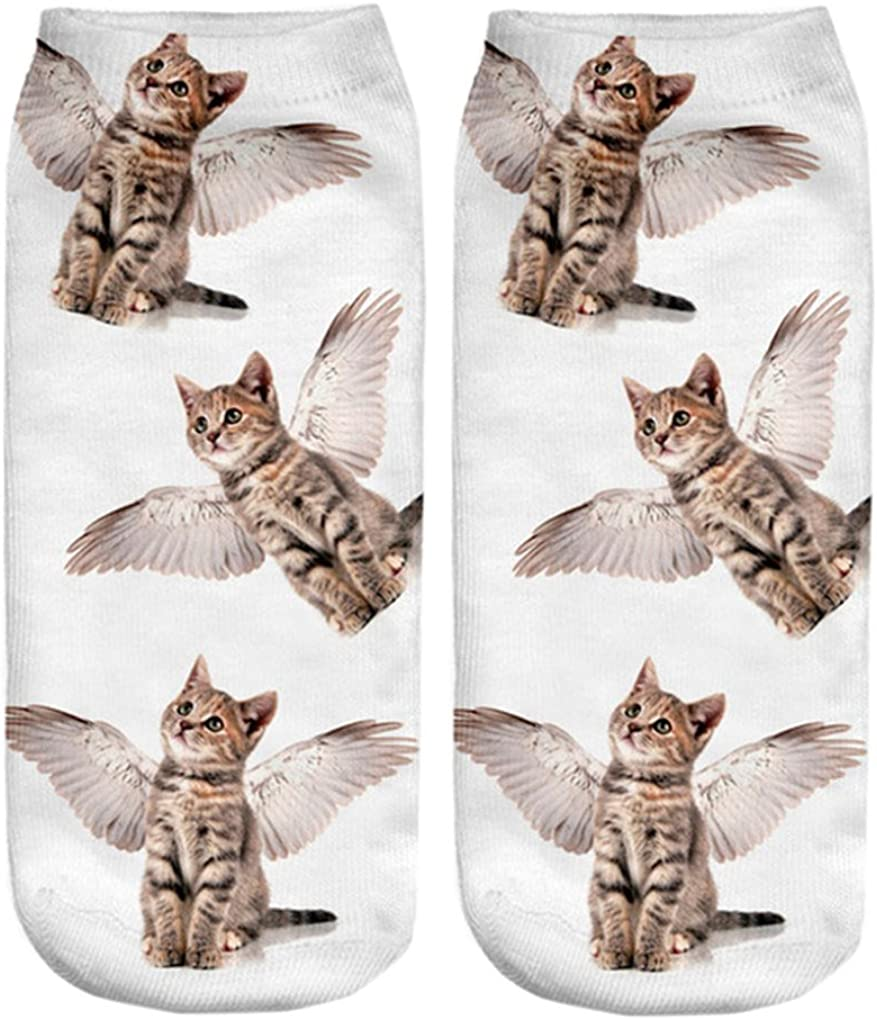 Doxi Cats With Wings Low-cut Ankle Socks Cool Socks Print Cotton Kawaii