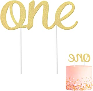 Gold 1st Birthday Topper, Double Sided Glitter, Number One Cake Topper Decoration, One Year Bday Party Decor for Girls and...