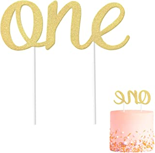 Gold 1st Birthday Topper, Double Sided Glitter, Number One Cake Topper Decoration, One Year Bday Party Decor for Girls and Boys, Couples And Marriage First Anniversary