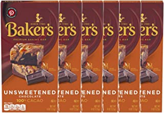 Baker's 100% Cacao Unsweetened Baking Chocolate Bar (Pack of 6) 4 oz Bars