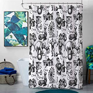homecoco Shower Curtains for Bathroom Cream Modern,Circus Quote and Themed Continous Pattern with Magician Baloons Phrase Artwork,Black and White,W36 x L72 Shower Curtain for Shower stall