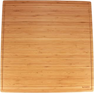 BambooMN - Bamboo Burner Cover Cutting Board, New Vertical Cut, Large, Square - Grooved (19.8