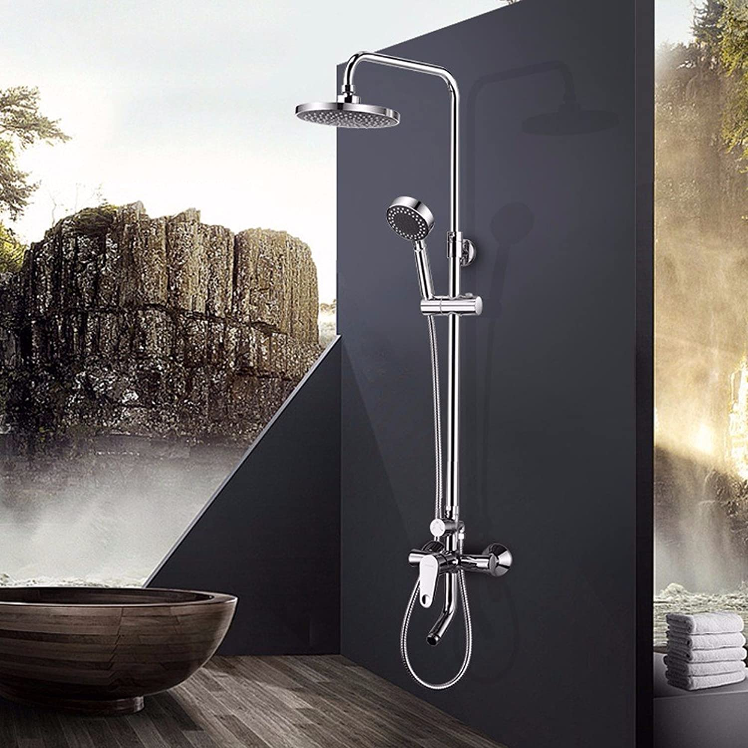 KPHP-All copper bathroom shower, hot and cold faucet swivel nozzle, wall mounted shower