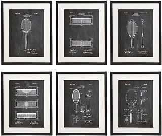IDIOPIX Tennis Patent Wall Decor Chalkboard Art Print Set of 6 Prints UNFRAMED