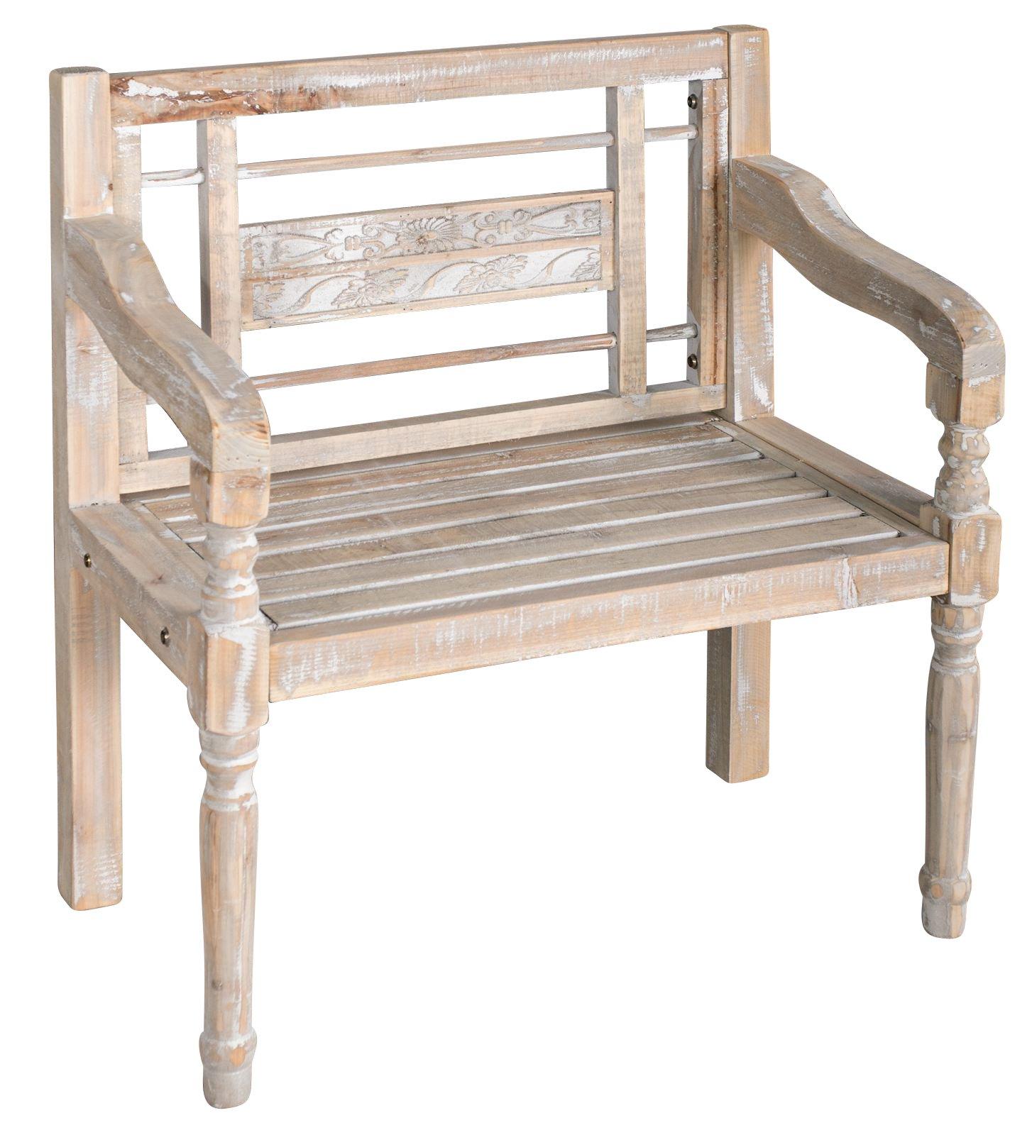 elbmöbel - Banco de madera con respaldo para jardín, color blanco: Amazon.es: Hogar