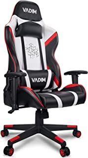 VADIM Sillas Gaming Ergonómica, Racing Silla de Escritorio de Oficina Gamer Regulable, Silla Giratoria de Oficina con Reposacabeza Apoyo y Cojín Lumbar