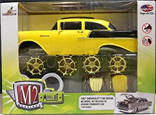 M2 Machines New 1:24 Model-KIT Release 2 - 1957 Chevrolet 150 Sedan (Chase Cars with Gold Color Wheel & Engines) Diecast Model Car