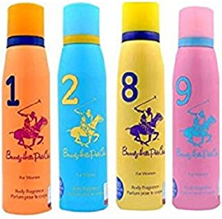 Beverly Hills Polo Club Women Deodorant No. 1/9/2/8- Pack Of 4 (150ml Each)