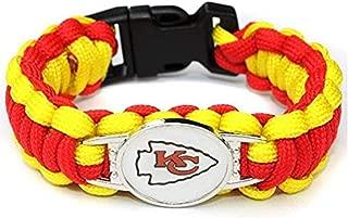 Kansas City Chiefs Paracord Bracelet with Plastic Snap Clasp 9 inches