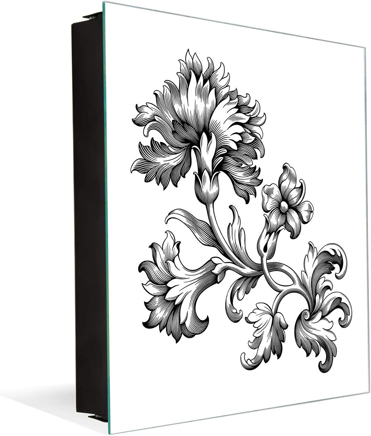 Wall Mount Key Box Together with Decorative Dry Erase Board K12 Baroque Ornament