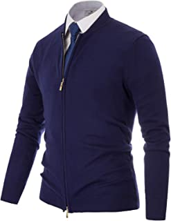 Mens Full-Zip Cardingan Sweater Stand Collar Long Sleeve Jacket
