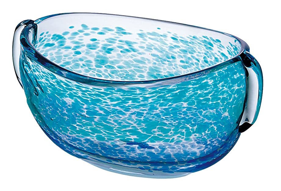 潮発見する副産物アデリア ガラス 花器 最大26×19×高13cm 津軽びいどろ 花器 水盤 日本製 F-79985