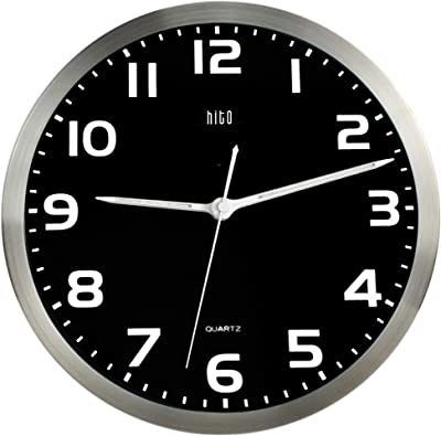 """HITO Silent Non Ticking Wall Clock 12"""" w/Smart Auto Nightlight Brightness Adjustable, Silver Metal Frame, Glass Cover, Sweep Movement (Hands + Numbers Illuminate)"""
