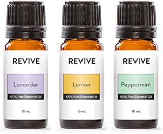 REVIVE Essential Oils Set For Diffuser, Humidifier, Massage, Aromatherapy, Skin & Hair Care - Top 3 Kit - Lavender, Lemon & Peppermint