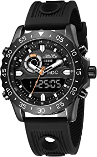 Big Face Military Tactical Watch for Men, Black Mens Outdoor Sport Wrist Watch, Large Analog Digital Watch - Dual Display Japanese Movement, Heavy Duty Stainless Steel Case, 3ATM Water Resistant