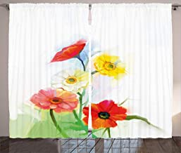 Ambesonne Watercolor Flower Home Decor Curtains, Abstract Oil Painting Poppy Patterns Fresh Spring Art Theme, Living Room Bedroom Window Drapes 2 Panel Set, 108W X 63L Inches, Red Yellow
