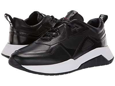 BOSS Hugo Boss Atom Run Leather Sneaker By HUGO (Black) Men