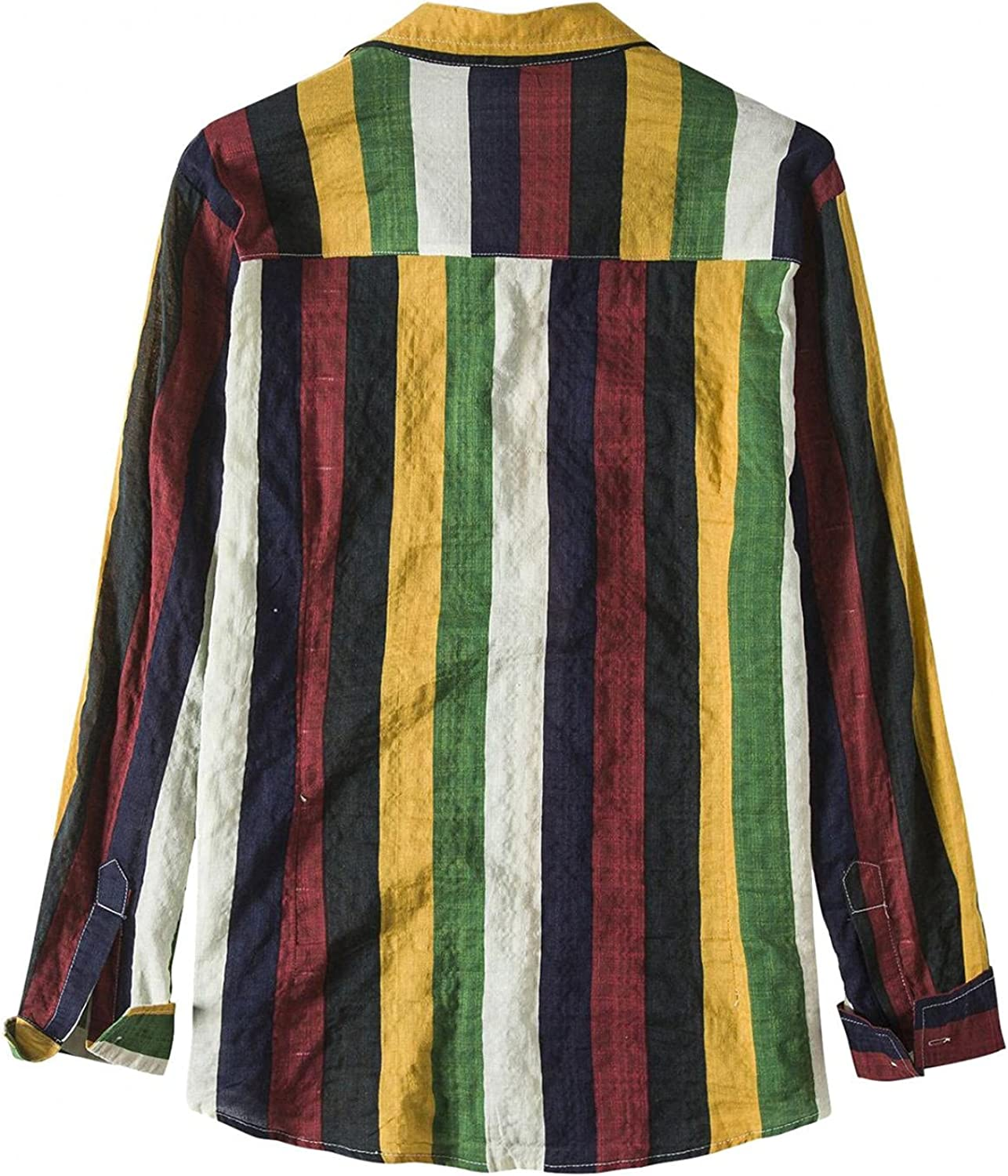 Aayomet Shirts for Men Striped Color Block Casual Long Sleeve Button Down T-Shirt Plain Pocket Loose Beach Tee Shirts Tops