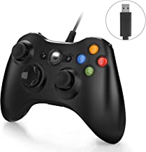 Controller for Xbox 360, Wired Gamepad Joystick Controller for Xbox 360 &PC Games Windows (10/8.1/8/7) with Dual-Vibration Turbo and Trigger Buttons, Black