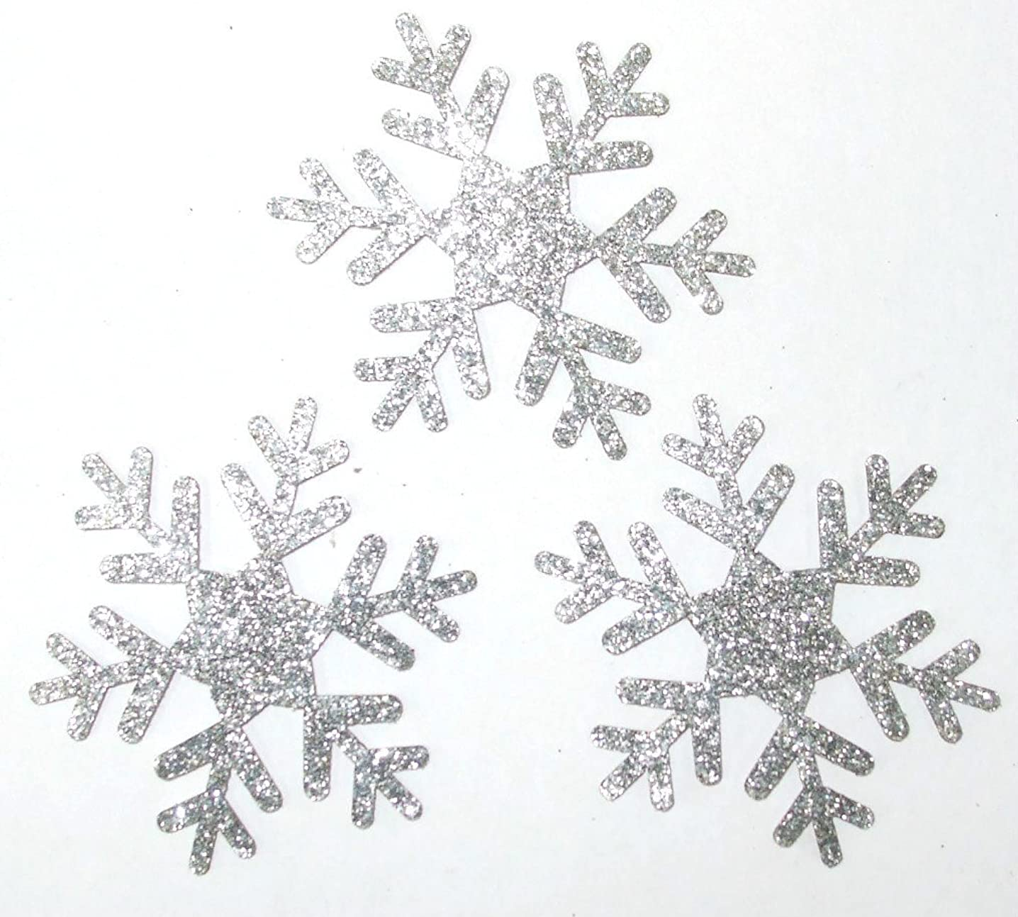 CrystalsRus Frozen Silver 5 Pack = 15 Glitter 2 Inch Snowflake Iron-On