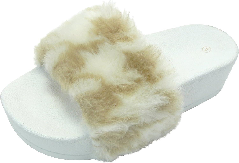 Cambridge Select Women's Faux Fur Platform Flatform Slip-On Slide Sandal