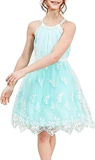 Sunny Fashion Vestido para niña Morado Mariposa Bordado Cabestro Fiesta 5-12 años
